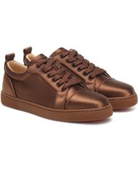 Christian Louboutin Louis Junior Silk-satin Sneakers - Brown