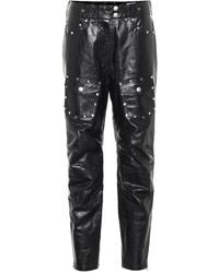 Dries Van Noten Studded Slim Leather Trousers - Black