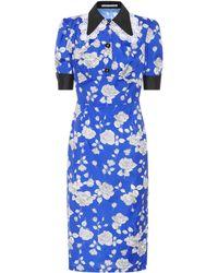 Alessandra Rich Floral-printed Taffeta Dress - Blue