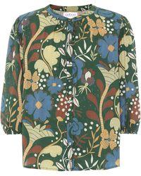 Velvet Bluse Affie aus Baumwolle - Grün