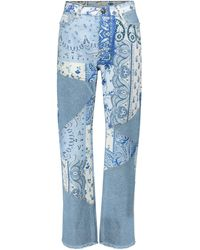 Etro High-rise Patchwork Straight Jeans - Blue