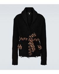 Alanui Cardigan in misto lana con cintura - Nero