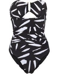 Self-Portrait Printed Swimsuit - Black