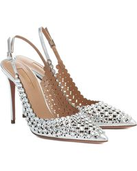 Aquazzura Tequila Crystal-embellished Court Shoes - Metallic