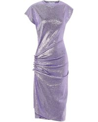 Paco Rabanne Stretch Metallic Midi Dress - Purple