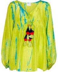 Anna Kosturova Blusa de seda tie-dye - Verde