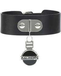 Vetements Georgian Logo Leather Choker - Black