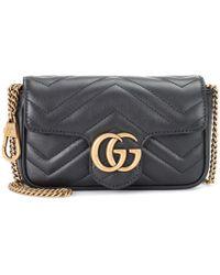 Gucci Borsa a tracolla GG Marmont mini in pelle - Nero