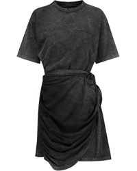 Y. Project Short-sleeved Cotton Mini Dress - Black