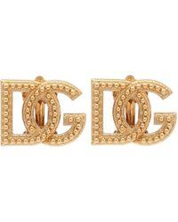 Dolce & Gabbana Logo Clip-on Earrings - Metallic