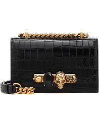 Alexander McQueen Jewelled Satchel Crocodile-effect Leather Shoulder Bag - Black