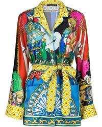 Dolce & Gabbana Bedrucktes Pyjamahemd aus Seide - Blau