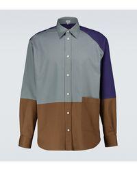 Loewe Patchwork-Hemd aus Baumwolle - Blau