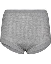 Totême Cable-knit Wool-blend Knickers - Grey