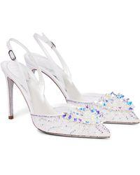 Rene Caovilla Pumps Cinderella aus Spitze - Weiß