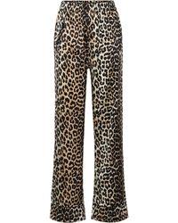 Ganni Leopard-print Stretch Silk-satin Pyjama Trousers - Brown
