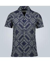 Officine Generale Dario Bandana Print Shirt - Blue