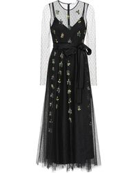 RED Valentino Embellished Embroidered Tulle Gown - Black