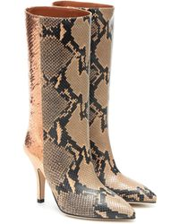 Paris Texas Snake-effect Leather Ankle Boots - Multicolor