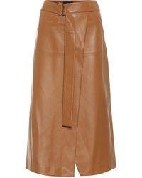 JOSEPH Salic Belted Leather Midi Skirt - Brown