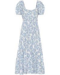 Polo Ralph Lauren Exklusiv bei Mytheresa – Midikleid aus Leinen - Blau