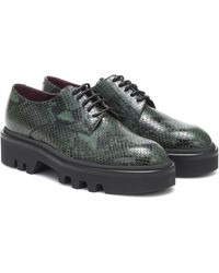 Dries Van Noten Snake-effect Leather Derby Shoes - Green