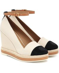 Tory Burch Suede-trimmed Espadrille Wedges - Natural