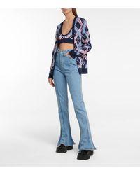 Y. Project Bralette de lana de cuadros - Azul