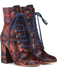 Etro - Exclusive To Mytheresa – Paisley Velvet Ankle Boots - Lyst