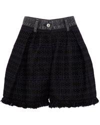 Sacai Denim And Tweed Shorts - Black