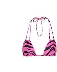 Saint Laurent Top de bikini print de cebra - Multicolor
