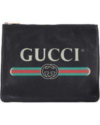 badd247ae39 Gucci Xl Leather Pouch in Black - Lyst
