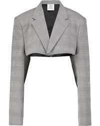 Vetements Checked Cropped Blazer - Grey