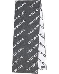 Balenciaga Logo Wool Scarf - Grey