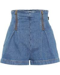 d8f892bd Versace Contrast Pocket Denim Shorts in Blue - Lyst