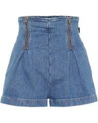 Versace Short à taille haute en jean - Bleu