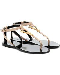 Versace Virtus Leather Thong Sandals - Multicolour