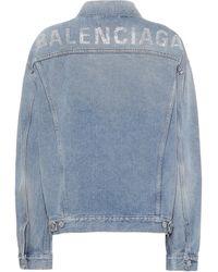 Balenciaga Logo Embellished Denim Jacket - Blue