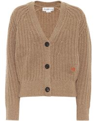 Victoria Beckham Ribbed Knit Wool And Cashmere Cardigan - Natural