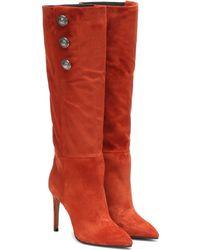Balmain Suede Knee-high Boots - Brown