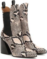 Chloé Exklusiv bei Mytheresa – Ankle Boots Wave aus Leder - Mehrfarbig