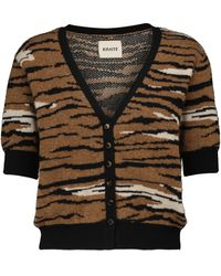 Khaite Cardigan Tiger in cashmere a maniche corte - Marrone