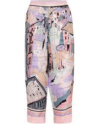 Emilio Pucci Jupe-culotte imprimée à taille haute en soie - Multicolore