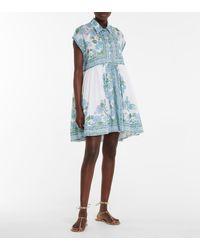Juliet Dunn Floral Cotton Minidress - White