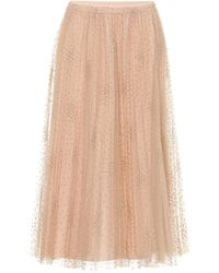 RED Valentino Fil Coupé Tulle Midi Skirt - Natural