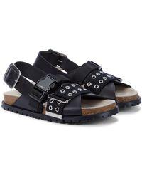 Sacai X A.p.c. Jules Leather Sandals - Black