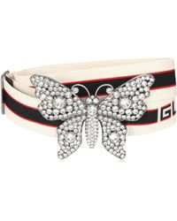 Gucci - Crystal-embellished Striped Belt - Lyst