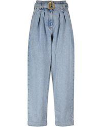 Balmain High-Rise Straight Jeans - Blau