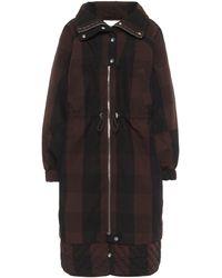 Ganni Manteau rayé à capuche en coton mélangé - Noir