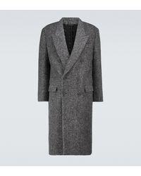 Fendi Manteau croisé en laine d'alpaga mélangée - Gris